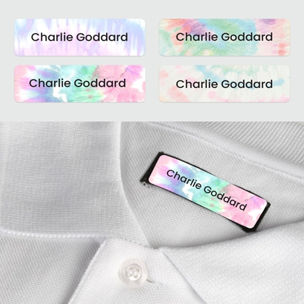 No Iron Small Personalised Stick On Waterproof (Clothing) Name Labels - Tie Dye - Mixed Pack of 60