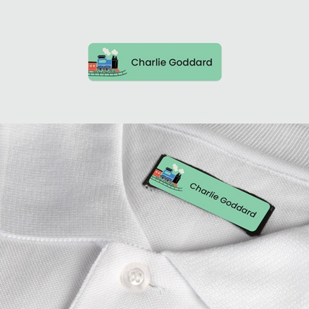 No Iron Small Personalised Stick On Waterproof (Clothing) Name Labels Train Track Mixed Pack of 60 thumbnail