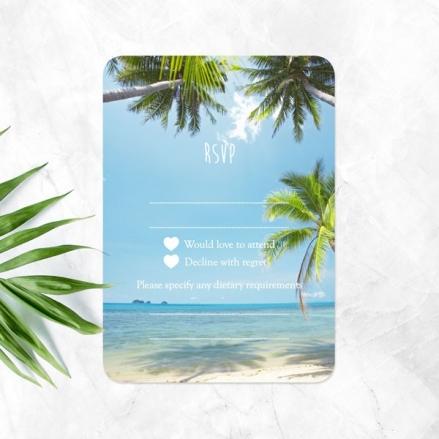 Tropical Beach Scene - Wedding RSVP Cards