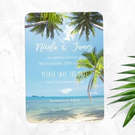 Tropical Beach Scene - Save the Date Cards