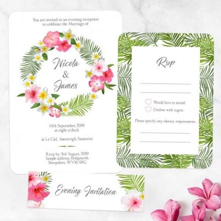 Tropical Floral Palm - Boutique Evening Invitation & RSVP