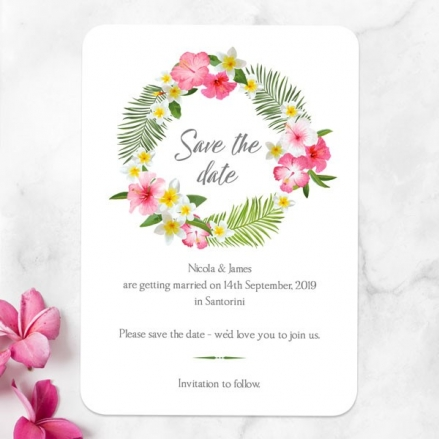 Tropical Floral Palm - Save the Date Cards