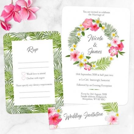 Tropical Floral Palm - Boutique Wedding Invitation & RSVP