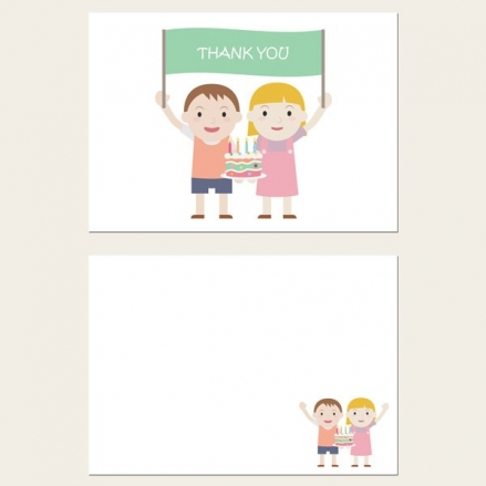 Ready to Write Kids Thank You Cards - Twins