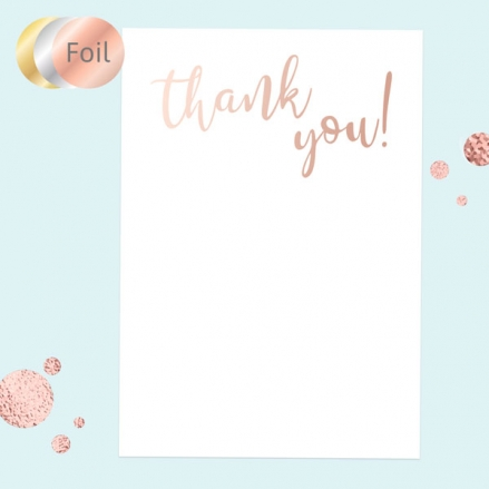 Ready to Write Thank You Cards - Typography Rose Gold Foil - Pack of 10