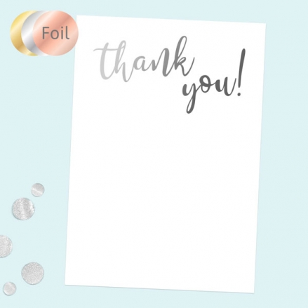 Ready to Write Thank You Cards - Typography Silver Foil - Pack of 10