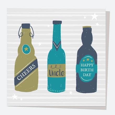 Uncle Birthday Card - Beer Bottles - Cheers Uncle