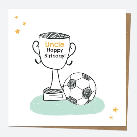 Uncle Birthday Card - Football Trophy - Uncle