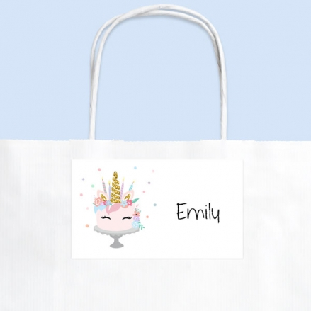 Unicorn Cake - Party Bag & Sticker - Pack of 10