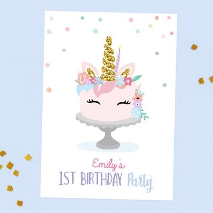 1st Birthday Invitations - Unicorn Cake - Pack of 10