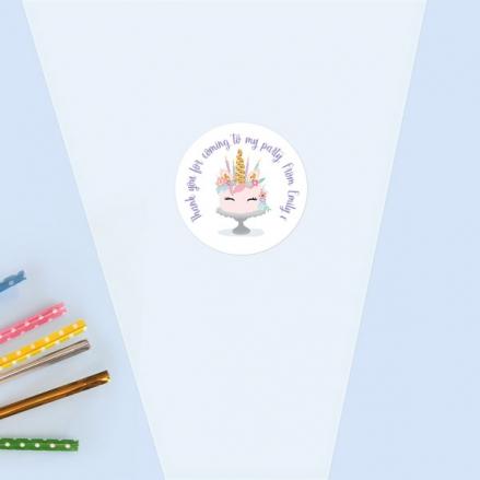 Unicorn Cake - Sweet Cone Bag & Sticker - Pack of 35