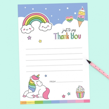 Unicorn Fun - Thank You Notelet - Pack of 20