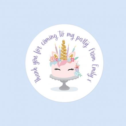 Unicorn Cake - Sweet Bag Stickers - Pack of 35