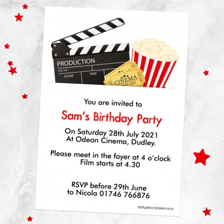 Personalised Kids Birthday Invitations - Cinema Party - Pack of 10