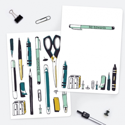 Vertical Pens - Green - Personalised A5 Exercise Books - Pack of 2