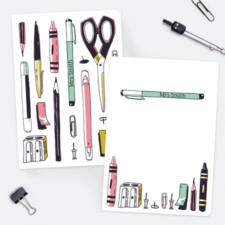 Vertical Pens - Pink - Personalised A5 Exercise Books - Pack of 2