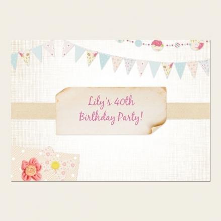 40th Birthday Invitations - Vintage Bunting