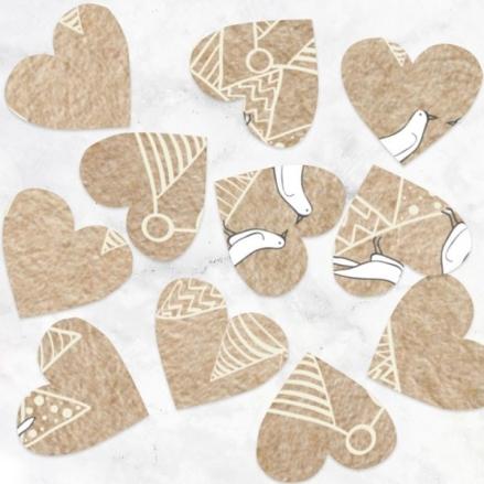 Vintage Bunting & Love Birds - Heart Table Confetti