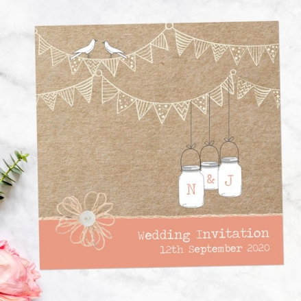 Vintage Bunting & Love Birds - Wedding Invitations