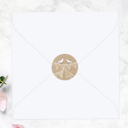 Vintage Bunting & Love Birds - Wedding Envelope Seals
