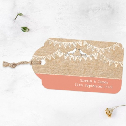 Vintage Bunting & Love Birds - Favour Tags