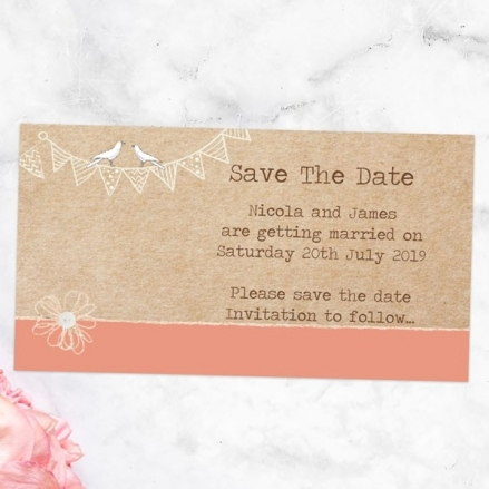 Vintage Bunting & Love Birds - Save the Date Magnets