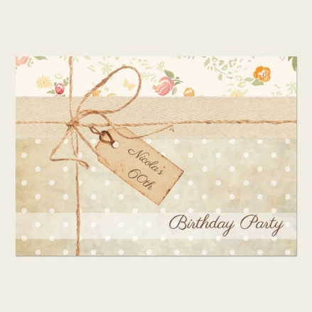 60th Birthday Invitations - Vintage Country Flowers