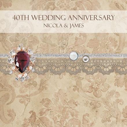 40th Wedding Anniversary Invitations - Vintage Damask