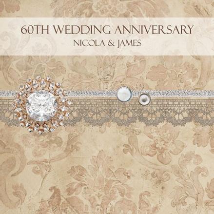 60th Wedding Anniversary Invitations - Vintage Damask