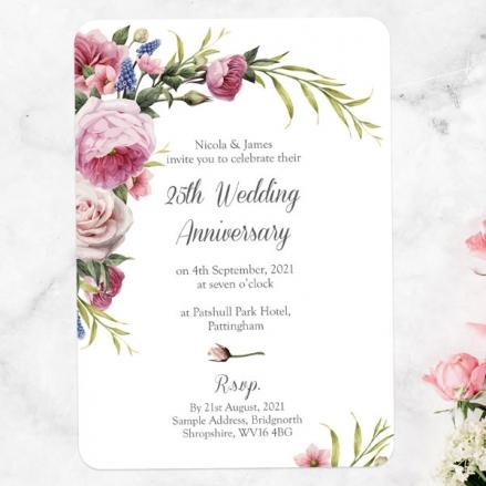 25th Wedding Anniversary Invitations - Vintage Flowers
