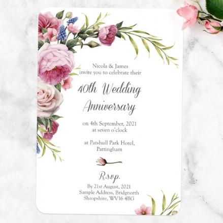 40th Wedding Anniversary Invitations - Vintage Flowers