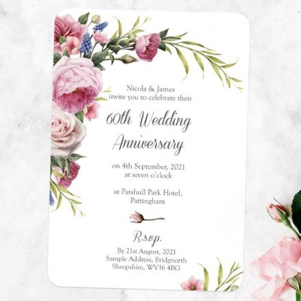 60th Wedding Anniversary Invitations - Vintage Flowers