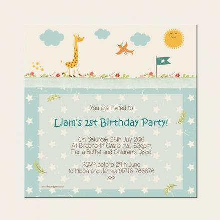 1st Birthday Invitations - Vintage Giraffe