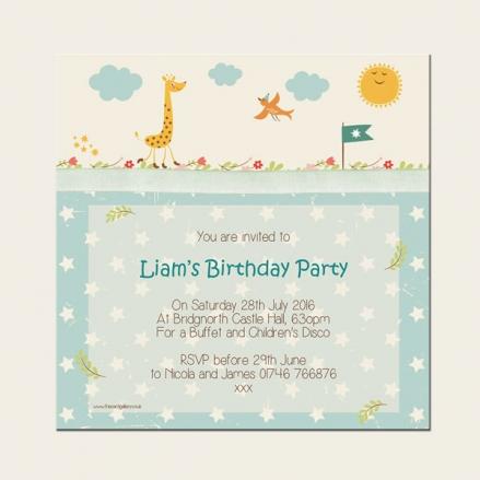 Personalised Kids Birthday Invitations - Vintage Giraffe - Pack of 10