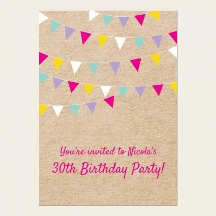30th Birthday Invitations - Vintage Party Bunting