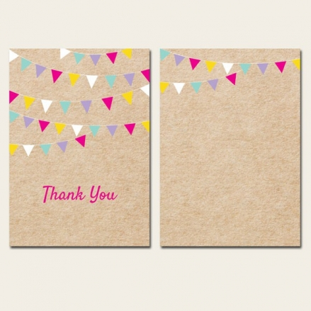 Ready to Write Thank You Cards - Vintage Party Bunting