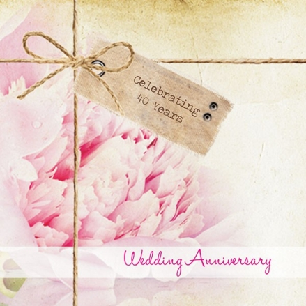 40th Wedding Anniversary Invitations - Vintage Peony