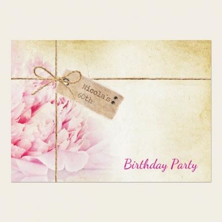 60th Birthday Invitations - Vintage Peony