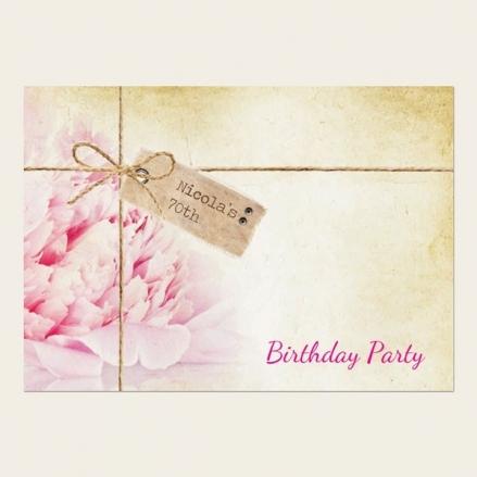 70th Birthday Invitations - Vintage Peony