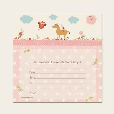 Ready to Write Kids Birthday Invitations - Vintage Pony - Pack of 10