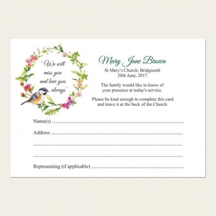 Funeral Attendance Cards - Watercolour Bird & Butterflies