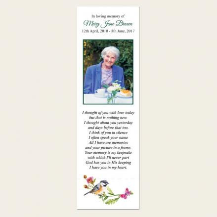 Funeral Bookmark - Watercolour Bird & Butterflies