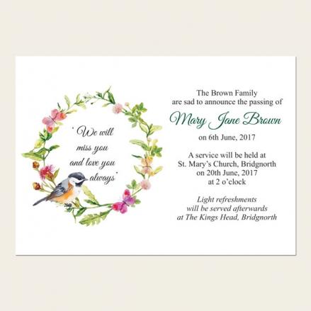 Funeral Announcement Cards - Watercolour Bird & Butterflies