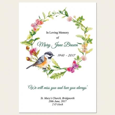 Funeral Order of Service - Watercolour Bird & Butterflies