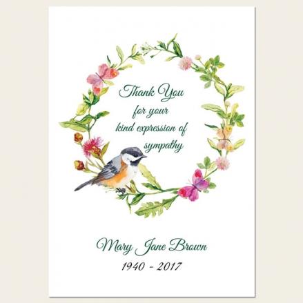 Funeral Thank You Cards - Watercolour Bird & Butterflies