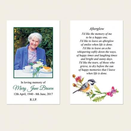 Funeral Memorial Cards - Watercolour Bird & Butterflies
