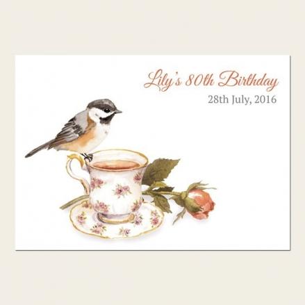 80th Birthday Invitations - Watercolour Bird & Teacup