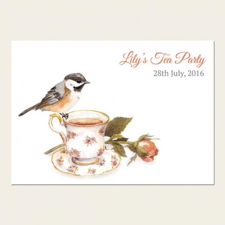 Tea Party Invitations - Watercolour Bird & Teacup