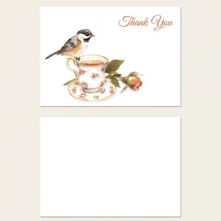 Ready to Write Thank You Cards - Watercolour Bird & Teacup