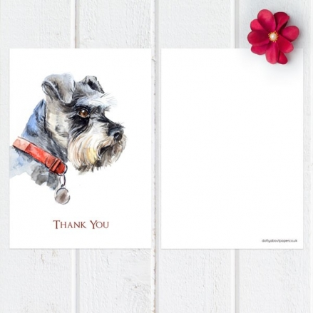Ready to Write Thank You Cards - Watercolour Dog, Schnauzer